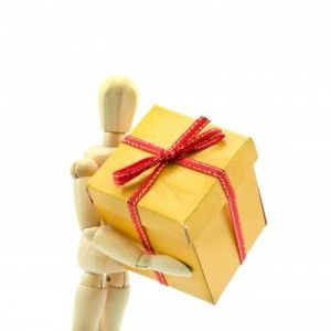 dummy with gift