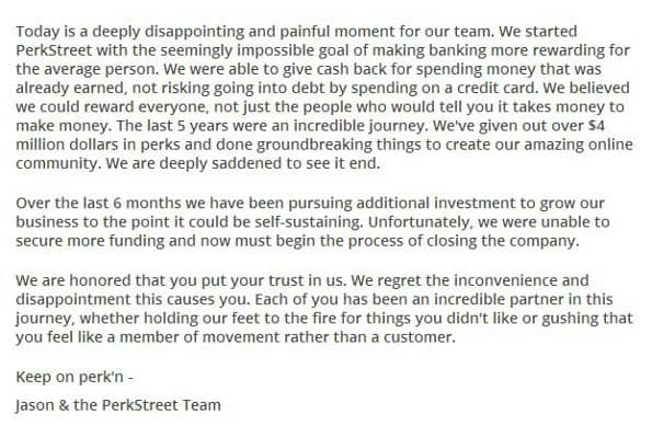 PerkStreet Financial is Shutting Down news