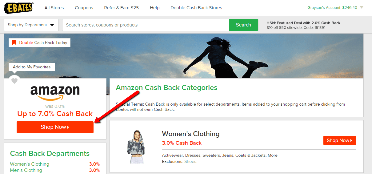 Amazon cash back at Ebates