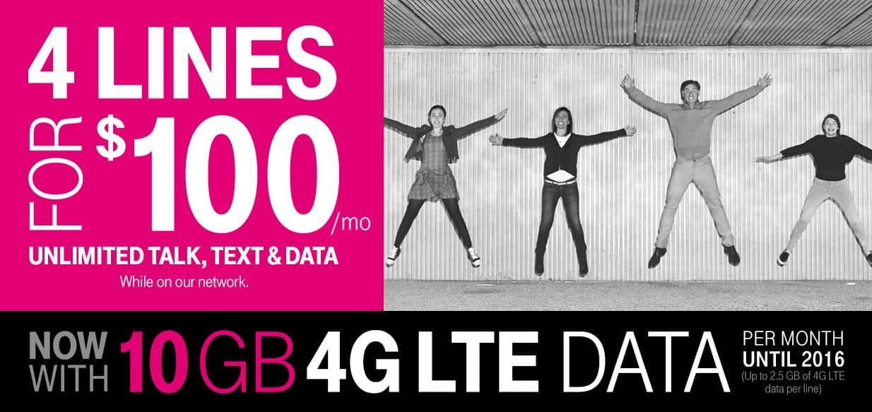 T-Mobile Offering 4 Lines for $100 Per Month ($25 Per Line!)