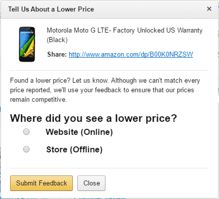 Amazon Price Match Form Step 1