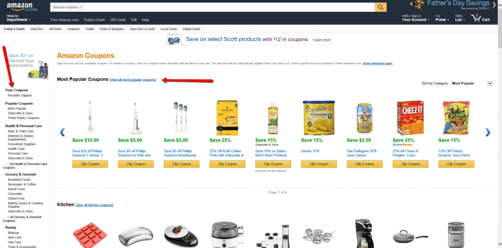 Amazon Coupons page