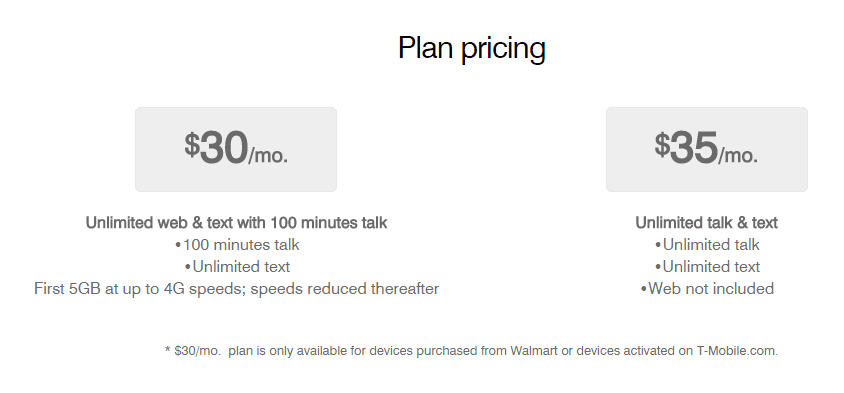 T-Mobile $30 Plan pricing