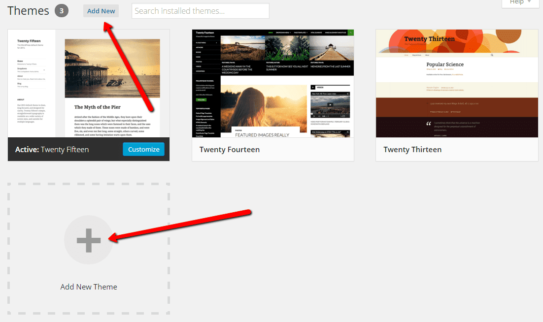 Add New WordPress theme button