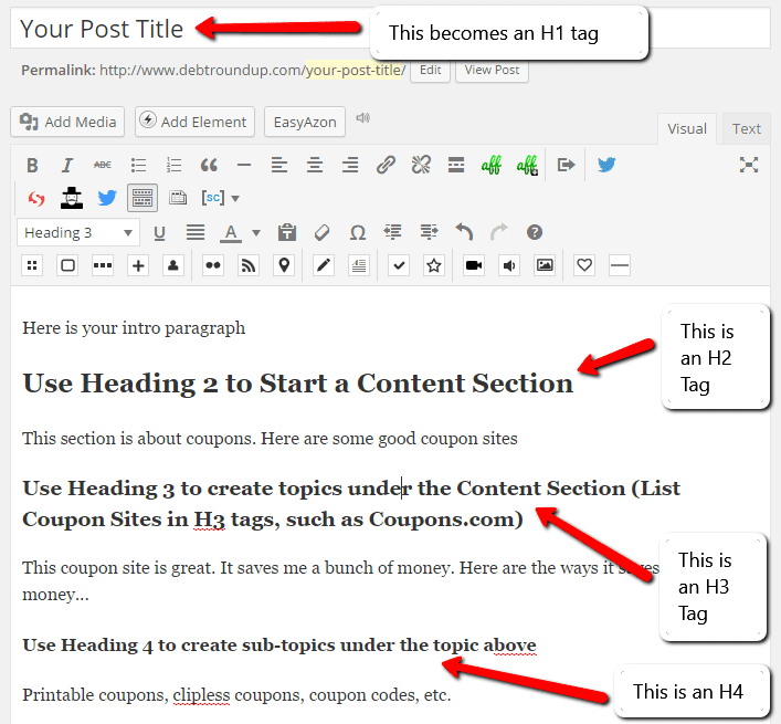 WordPress Content Headings