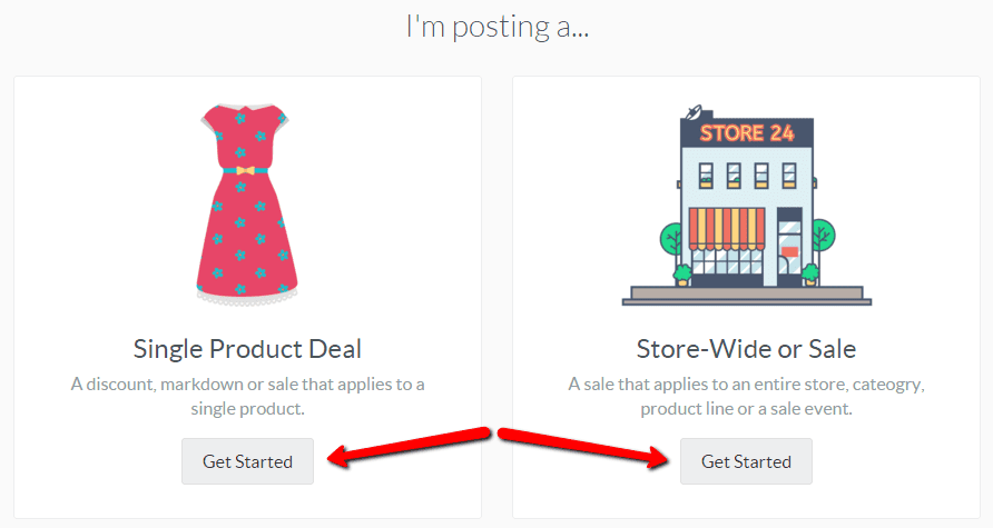 Choose the type of deal to post