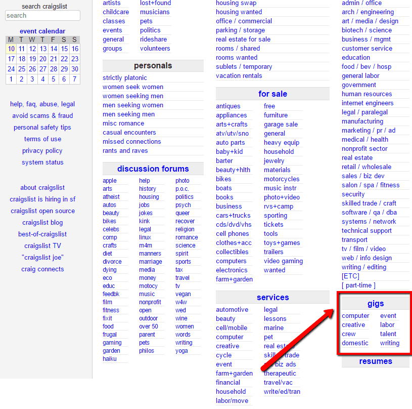 Make money with the Craigslist Gig section