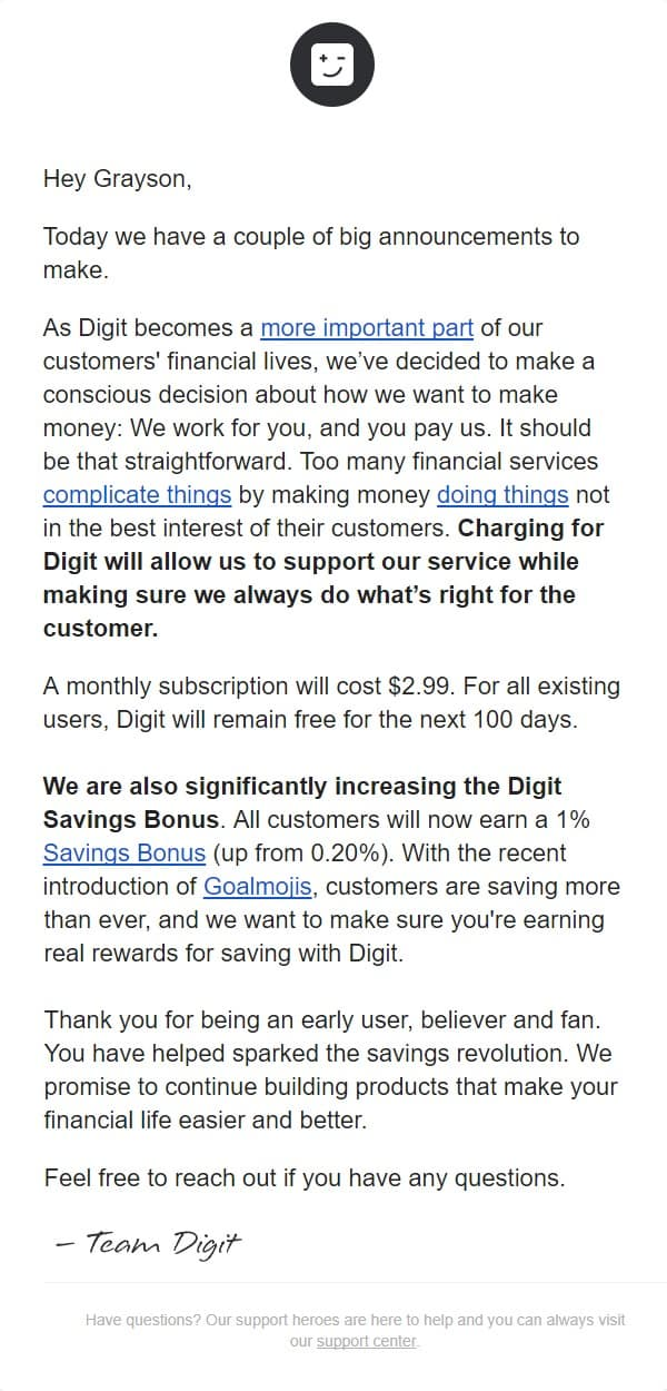 The email from Digit about charging a fee